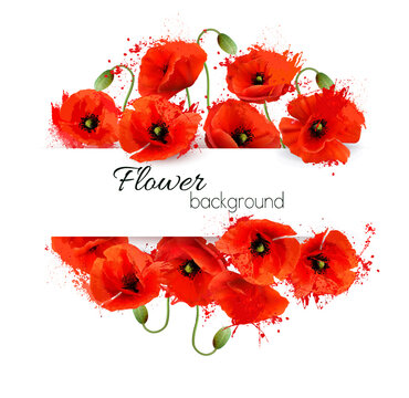 Flower greeting card with red watercolor poppies. Vector.
