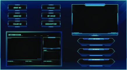 Obraz Twitch streaming panel overlay design template Premium Vector with different panels  - fototapety do salonu