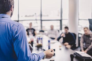 Obraz Business presentation on corporate meeting. - fototapety do salonu