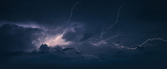 Fototapeta Storm. Lightning in the landscape.Thunderstorm Clouds with Lightning obraz