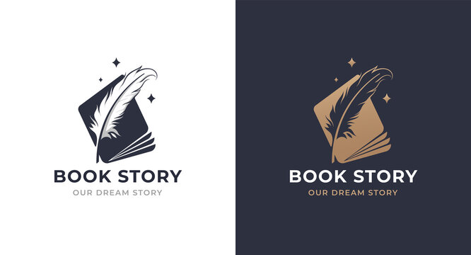book story feather logo design