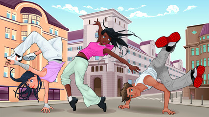 Funny breakdancers in the city. Vector illustration.