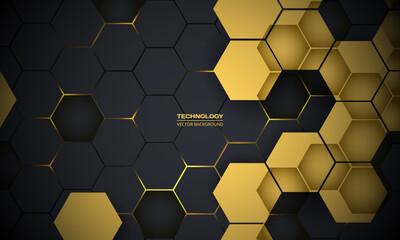 Dark Gray Yellow Abstract Technology Hexagonal Background - fototapety na wymiar