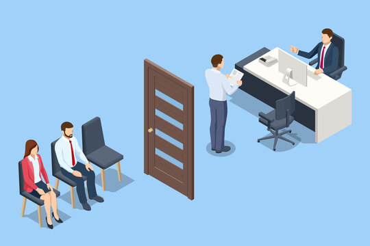 Isometric Human Resources Interview Recruitment Job. HR manager and employee candidate meeting and talking. Job interview, recruitment agency
