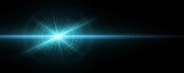 Fototapeta Stylish tech blue light effect isolated on a dark background. Vector footage for your project. Explosion with glowing sparks. Magic beams. Bright flare with horizontal rays. obraz
