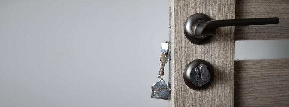 house key in a door