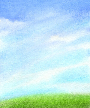 Clouds in the sky abstract and green grass watercolor background