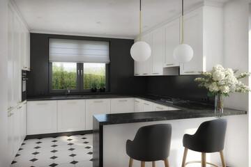 Fototapeta elegancka biało czarna kuchnia w stylu klasycznym obraz