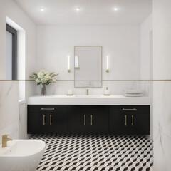 Obraz biało czarna modna łazienka w stylu klasycznym - fototapety do salonu