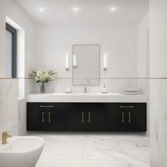 Fototapeta biało czarna modna łazienka w stylu klasycznym obraz