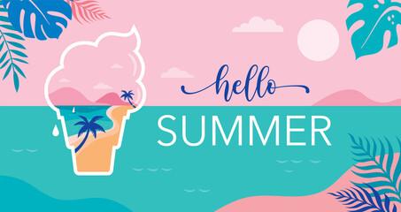 Obraz Summer time fun concept design. Creative background of landscape, panorama of sea and beach on ice cream. Summer sale, post template - fototapety do salonu