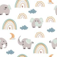 Modèle sans couture avec des éléphants et des arcs-en-ciel boho