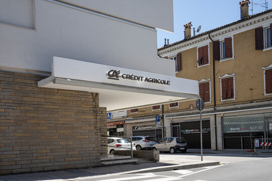 Credit Agricole bank sign in a building