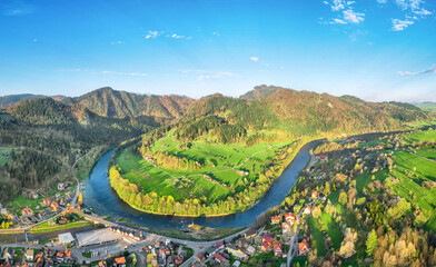 Aerial view of bend of Dunajec river and Sokolica mountain from Szczawnica, Pieniny, Poland