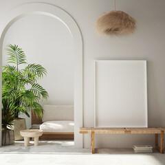 mock up poster frame in modern interior background, living room, Bohemian style, 3D render, 3D illustration - fototapety na wymiar