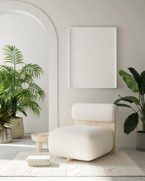 mock up poster frame in modern interior background, living room, Bohemian style, 3D render, 3D illustration