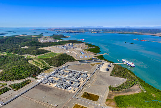 Liquified natural gas plants on Curtis Island, Queensland and LNG ship on Curtis Island, Queensland