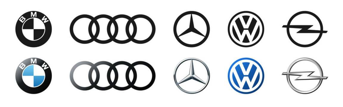 German cars logo company set: BMW, Audi, Mercedes, Volkswagen, Opel. Isolated Germany car emblem on white background. Editorial illustration.