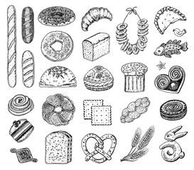 Fototapeta Bakery products set. Donuts bagels, cookies and and baguette, pie and croissant and Easter cake. Engraved hand drawn in old sketch and vintage style for label and menu bakery shop. organic food. obraz