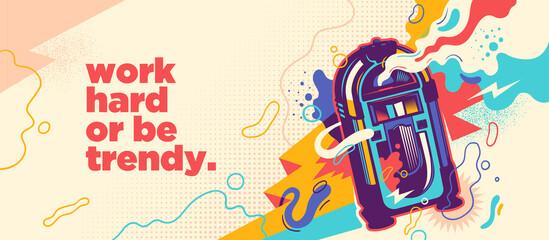 Fototapeta Abstract lifestyle graffiti design with jukebox and slogan. Vector illustration. obraz