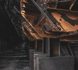 old factory support beams
