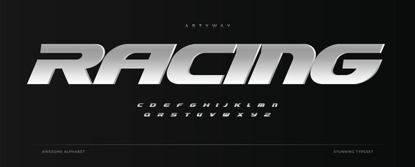 Fototapeta Racing alphabet. Speed sport font, automotive type for modern dynamic logo, headline, auto car branding and merchandise, typography and packaging. Wide bold italic letters, vector typographic design obraz