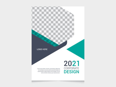 Corporate flyer poster template design with annual report cover layout