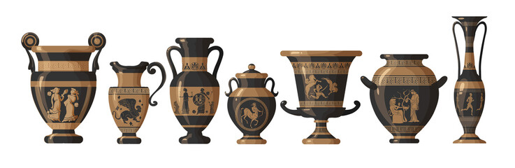 Fototapeta Set of antique Greek amphoras, vases with patterns, decorations and life scenes. Ancient decorative pots isolated on white background, old clay jugs, ceramic pottery. Vector illustration obraz