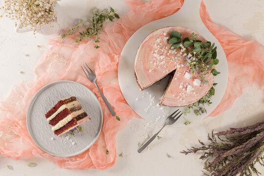 Slice of strawberry cake