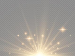 Fototapeta Star explosion, yellow glow lights sun rays. obraz