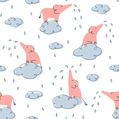 Elephant rain on clouds - childish seamless pattern for kids - for fabric, wrapping, textile, wallpaper, background.
