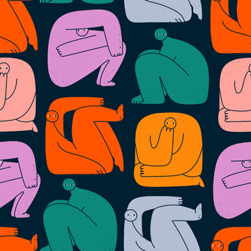 Various strange creatures or people or persons with long arms and small heads. Cute disproportionate characters in different poses. Hand drawn Vector illustration. Square seamless Pattern