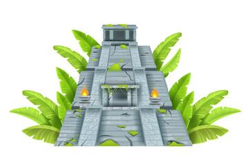 Maya ancient pyramid, Aztec temple ruin, vector cartoon landmark illustration isolated on white. Mexico archeological historical ziggurat, old civilization building. Maya pyramid, stone jungle castle - fototapety na wymiar