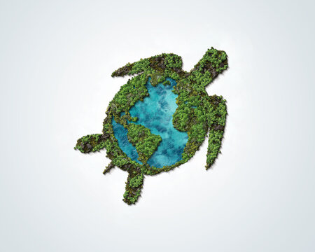 World Turtle Day concept background, May 23. Green 3d Turtle concept of Ocean Day and environment day.