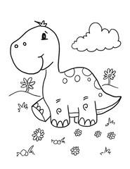 Cute Dinosaur Coloring Book Page Vector Illustration Art