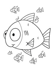 Cute Fish Coloring Book Page Vector Illustration Art