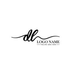 Fototapeta Initial Handwriting Logo Design Template Letter DL obraz
