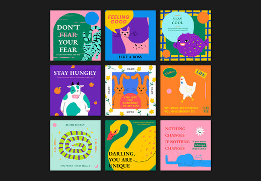 Motivational Quote Template with Cute Animal Illustration