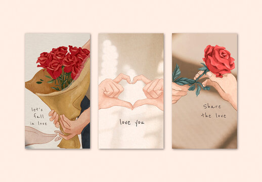 Valentine'S Day Template Set for Mobile Wallpaper