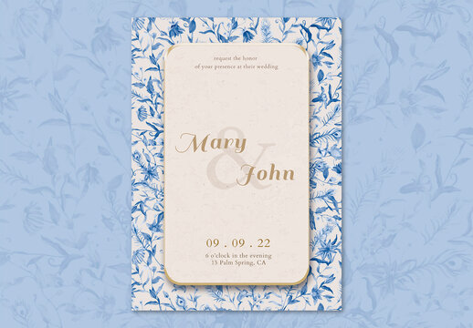 Wedding Invitation Card Template with Blue Watercolor Flowers Design