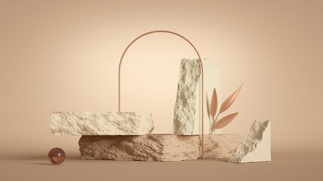 3d render, abstract modern minimal pastel background with rock podium, golden arch and decorative leaf. Showcase scene for product presentation