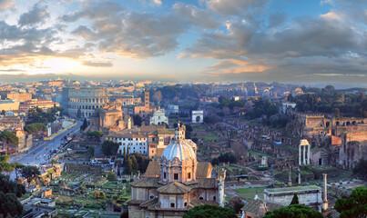 Rome City panorama, Italy. - fototapety na wymiar