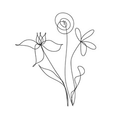 Abstract bouquet of flowers in a trendy linear style. Flowers one line drawing. Hand drawn bouquet.