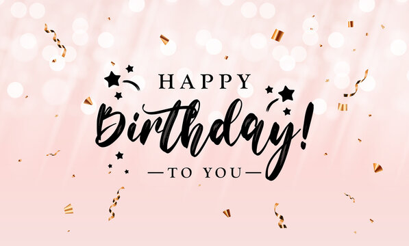 Happy Birthday congratulations banner design with Confett and Glossy Glitter Ribbon for Party Holiday Background. Vector Illustration