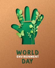 Obraz Environment day green hand leaf paper cut card - fototapety do salonu