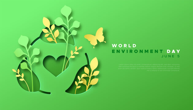 Environment Day paper cut green recycle template