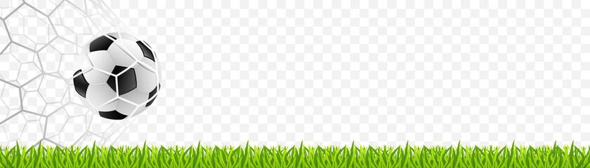 Obraz Soccer football on the net with grass. European championship 2021. Vector illustration isolated - fototapety do salonu