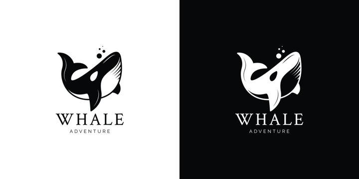 Illustrations of whale logo design concept