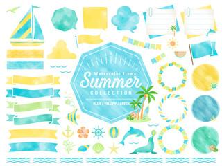 夏、水彩、ビーチ、フレーム、海、イラスト、吹き出し / 自然、風景、生き物