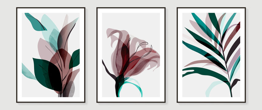 Abstract art tropical leaves background vector. wall art design with watercolor art texture from floral and palm leaves, Jungle leaves, flower, x-ray botanical leaves design  Vector illustration.